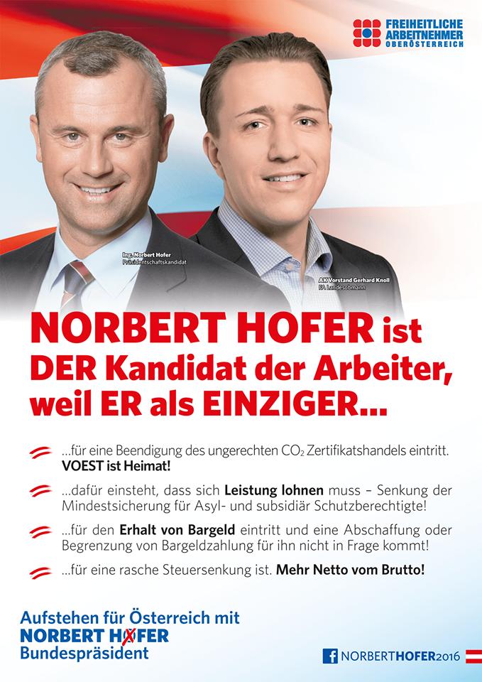 Norbert Hofer ist der Kandidat der Arbeiter. Am 22. Mai - Norbert Hofer